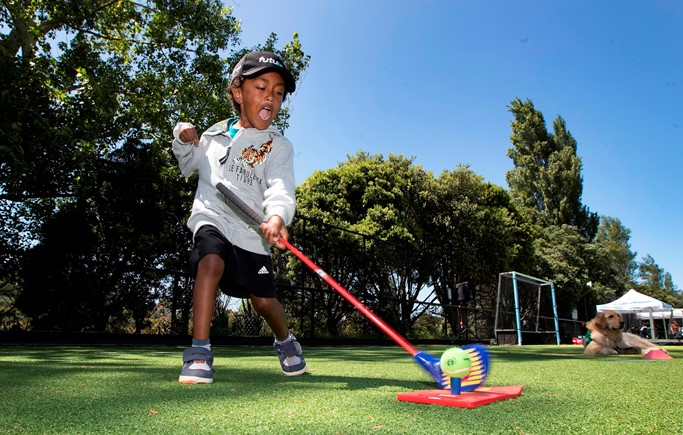 Mark Firisua From Oranga Primary School Playing SNAG Golf At The 2019 Saint Kentigern Halberg Adapted Sports Day.